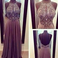 Hot Sale High Neck Open Back Crystal Prom Dresses vestidos de noche A Line Floor Length Evening Gowns 2014 New Arrival $179.00