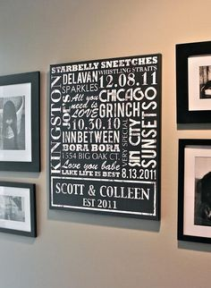 Word art on canvas - Create your own artwork using words and dates that have meaning to you!