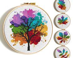 5 Modern Cross stitch patterns Tree cross stitch Four seasons Counted cross stitch Leaves Embroidery Hoop Art Watercolor Flower cross stitch