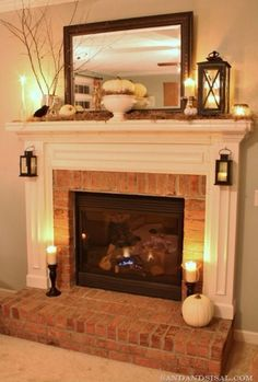 Stunning 7 Brick Fireplace Mantle Design Ideas On A Budget Brick Fireplace Makeover, Fireplace Design, Fireplace Ideas, Small Fireplace, Mantel Ideas, Fireplace Mantles, Modern Fireplace, Mirror Over Fireplace, Country Fireplace