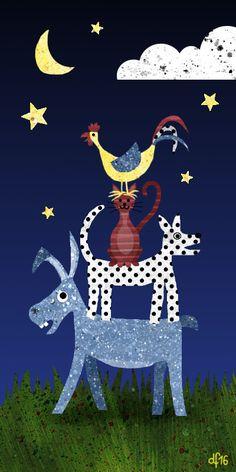 Bremer Stadtmusikanten +++ illustration by Daniela Faber 2016 +++ Bremen town city musicians Germany Grimm fairy tale Märchen donkey dog cat cockerel rooster night moon stars cloud grass children kidlitart