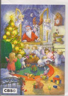 Adventskalender Kaart: Engelen verstoppen cadeau's - 488 - met envelop, € 2,95