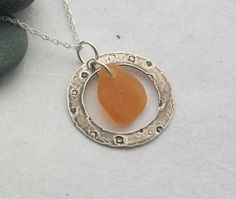 SALE 50% OFF - Rustic Orange Scottish Sea Glass and Sterling Silver Necklace £11.00