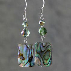 Abalone shell Earrings drop green purple dangle door AniDesignsllc, $12,95