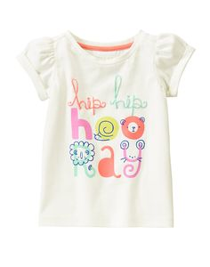 Hooray Faces Tee at Gymboree Collection Name: Hello Happy Kids Girls Tops, Shirts For Girls, Toddler Outfits, Kids Outfits, Ww Girl, Baby Girl Patterns, Trends, Baby Wearing, Kids Wear