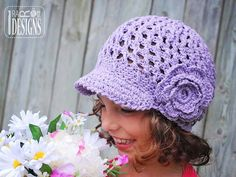 Summer Beanie with Brim and Flower PDF Crochet Pattern preview photo