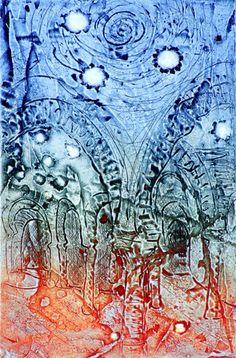 Baños árabes, Granada/Moorish Baths, Granada, a three-color liquid-metal print on a zinc plate by Maureen Booth. Image size 11x16.5 cm., edition 70. $95