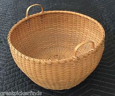 Antique Sabbathday Lake Shaker Handled Splint Sewing Basket Except Condit. AAFA