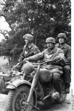 Military police personel on their BMW R75 Motorcycle.