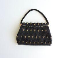 Vintage Black Micro Beaded Purse, Gold Beaded Leaf Design, Scalloped Hinge Handbag, Gold Rope Trim, Beaded Evening Bag, Like New Condition