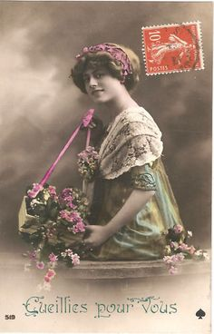Woman with Lilac Bouquet Vintage French Postcard items in The Paper Attic store on eBay!