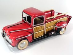 cute little 1:12 scale tinplate old Ford pickup truck - nice addition to a vintage 40's dollhouse display