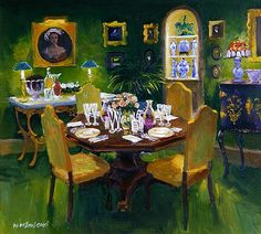William  Ireland-Dinner Party (oil on board)