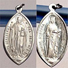 Vintage German Medal Saint Dymphna Saint Gereberne Pendant (Image1)