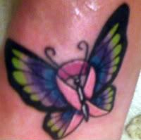 Pic of new breast cancer ribbon/butterfly tattoo - iamTAN
