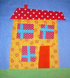 Quilt Inspiration: Wonky house block mini tutorial by Helen at Patchy Work of Mini Grey House Quilt Patterns, House Quilt Block, House Quilts, Fabric Houses, Quilt Block Patterns, Pattern Blocks, Quilt Blocks, Small Quilts, Mini Quilts