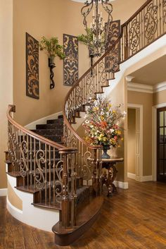 Beautiful staircase interiors dream house stairway walls stair home interior wall decor design . House Design, Staircase Decor, Tuscan House, Foyer Decorating, Home Decor, House Interior, Tuscan Decorating, Stairway Walls, Stairs Design