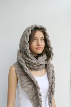 Milky Brown Wool Hooded Cabled  Long Scarf  Cowl von denizgunes, $79.00