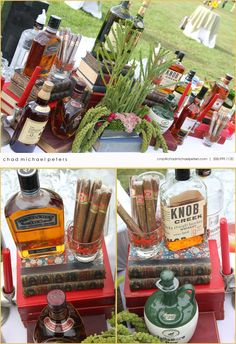 cigar bar - what a great idea Bourbon Bar, Whisky Bar, Cigars And Whiskey, Bulleit Bourbon, Cigar Bar Wedding, Cigar Party, Farm Wedding, Wedding Ideas, 40th Birthday Parties