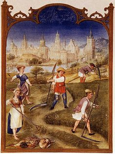 "Grimani Breviary: ""The Month of June"" by Gerard Horenbout (Flemish Northern Renaissance Illuminator, -- Manuscript (Ms. I Biblioteca Nazionale Marciana, Venice. Medieval Books, Medieval Life, Medieval Manuscript, Medieval Art, Illuminated Manuscript, Medieval Peasant, Medieval Costume, Renaissance Kunst, Illustrations Vintage"