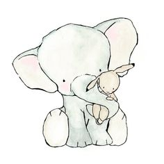 Elephant Hug 8X10 Nursery Art Print bunny and elephant. $10.00, via Etsy.