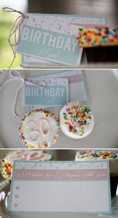 Free printable Birthday Party place cards and wish list