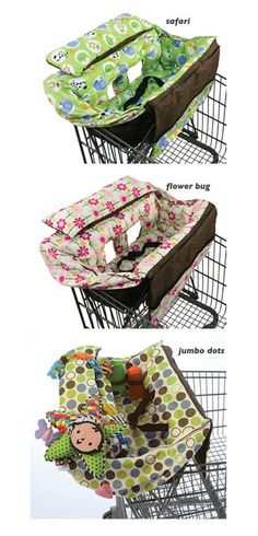Umm, yes please, watch the video on how easy this is! Seems like the ideal shopping cart cover, can install with one hand, extra safety clips to keep baby safe, an a storage area for coupons.