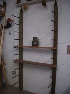 Pottery studio shelving idea. Love this because you can change the heights all the time!