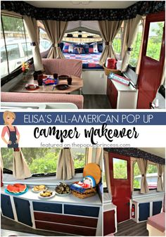 This Americana themed pop up trailer is just too cute!  I love how they spray painted the camper door to match the decor.