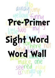 Sight Words Word Wall Dolch Pre-Primer