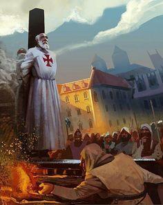 Livre 1, chapitre 25 page 293 :Jacques de Molay, dernier maître des Templiers condamné au bûcher.