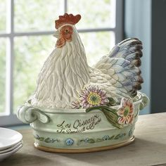 Covered Rooster Dish by Fitz & Floyd