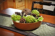 I made this centerpiece with hedge apples from the backyard.