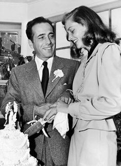 Humphrey Bogart and Lauren Bacall at their wedding, 1945   They had already completed The Big Sleep (1946) at the time.