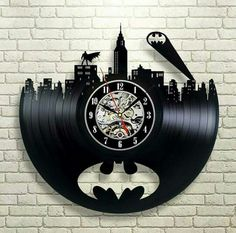 Batman Arkham City Logo_Exclusive wall clock made of vinyl record_GIFT_DECOR - Batman Decoration - Ideas of Batman Decoration -