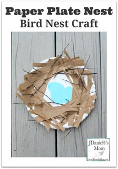 Bird Nest Craft: Paper Plate Nest Pin- Your children will enjoy creating this fun craft with materials you have in your home and yard. It would be great to make a sign of spring.