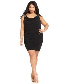 Trixxi Plus Size Dress, Sleeveless Sequin Ruched
