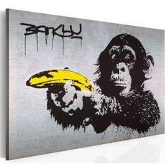 murando - Bilder Banksy Monkey with Banana Gun cm Vlies Leinwandbild 1 TLG Kunstdruck modern Wandbilder XXL Wanddekoration Design Wand Bild - AFFE Pistole Graffiti Urban Street Art Banksy Graffiti, Street Art Banksy, Images Graffiti, Banksy Artwork, Bansky, Banksy Canvas Prints, Canvas Wall Art, Banksy Monkey, Street Art Graffiti