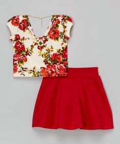 Love this Red Floral Crop Top Set - Toddler & Girls by Citlali's Choice on #zulily! #zulilyfinds