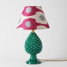 Pine Cone Lamp base on Pedestal- Sicilian, small Modern Lamp Bases, Gold Floor Lamp, Green Lamp, Small Lamps, Light Bulb Wattage, Table Lamp Base, Black Lamps, Modern Ceramics, Ceramic Design