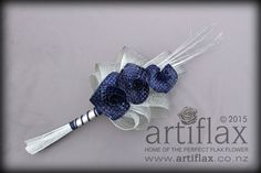 3 navy blue flax woven lilies with authentic silver hapene flax foliage. Bridal bouquet by Artiflax Wedding Goals, Wedding Ideas, Flax Weaving, Flax Flowers, Wedding Decorations On A Budget, Flower Ideas, Flower Bouquet Wedding, Corporate Gifts, Purple Wedding