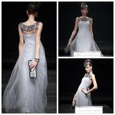 Sexy Sleeveless Beaded Prom Gowns for Women Zuhair Murad Formal Long Dress Party Evening Dress 2014 New Arrival Women Gown