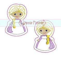 Winter Queen FELT CLIPPIES 4x4 Machine Embroidery Design felties clips princess- $2.25