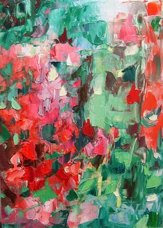 "Painting, original floral abstract, small,""Geranium Riot"" 10x 7 inches"
