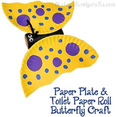 Paper Plate and Toilet Paper Roll Butterfly - It is so easy to make a colorful butterfly using a toilet paper roll and a paper plate! (http://aboutfamilycrafts.com/paper-plate-toilet-paper-roll-butterfly/)