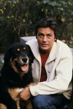 Alain Delon with dog