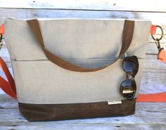 Day bag, Stone ECO cotton with Waxed canvas  and orange trim womens purse, by Darby Mack  Great market, office or travel bag, ipad pocket