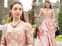 """In the episode 2x04 (""""The Lamb and the Slaughter"""") Queen Mary wears a Reign Costumes custom pink gown."""