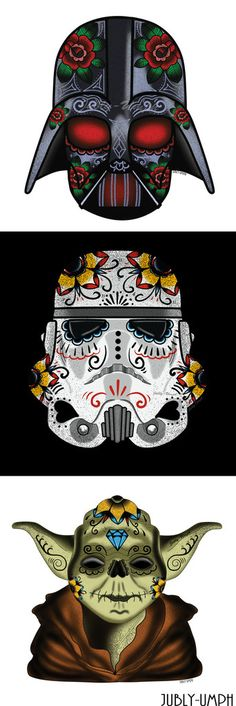 This would make a great tattoo or set of Star Wars prints for your home. Sugar Skull Storm Trooper. | Jubly-Umph Originals *Pin For Later*