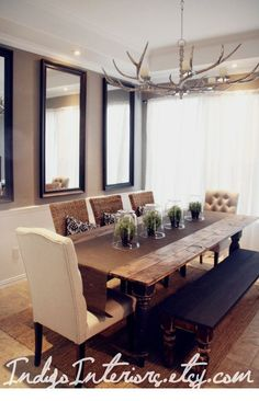 Black and Espresso Farmhouse / Reclaimed Wood Plank Style Dining Room Table on Etsy, $875.00 Antler chandelier with nudes by roc